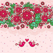 Floral romantic background with birds in love. — Stock Vector
