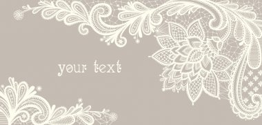 Card with a white lace. Floral Background.