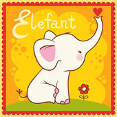 Illustrated alphabet letter E and elephant. — Stock Vector