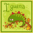 Illustrated alphabet letter I and iguana. — Stock Vector