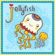Illustrated alphabet letter J and jellyfish. — Stock Vector #30659455