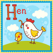 Illustrated alphabet letter H and hen. — Stock Vector