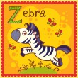 Illustrated alphabet letter Z and zebra. — Stock Vector