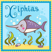 Illustrated alphabet letter X and xiphias. — Stock Vector