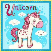 Illustrated alphabet letter U and unicorn. — Stock Vector