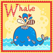 Illustrated alphabet letter W and whale. — Stock Vector
