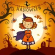 Halloween card with cute little witch. — Stok Vektör