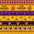 Halloween background with bat, pumpkin, ghost. — Stok Vektör
