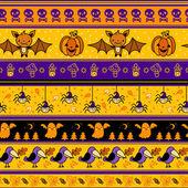 Fondo halloween con bate, calabaza, fantasma. — Vector de stock