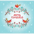 Christmas greeting card with bird and branch. — Stock Vector