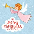 Постер, плакат: Bright holiday background with small funny angel