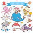 Sea Animals Collection. — Stock Vector #36212039