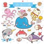 Sea Animals Collection. — Stock Vector