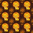 Baby seamless pattern of cute little lion. — Векторная иллюстрация