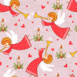 Christmas pattern with angels flying in the sky. — Vettoriali Stock