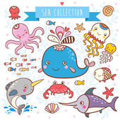 Sea Animals Collection. — Stock Vector