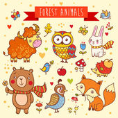 Vector set of wild animals in the forest — Stock Vector