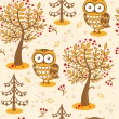 Vector background with owls. — Stock Vector