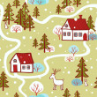 Seamless Christmas pattern with houses — Stock Vector