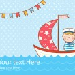 Greeting card with boy, ship and sea — Stock Vector #43680309