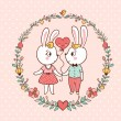 Bunny Love Invitation. — Stock Vector