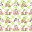 Pattern with Easter bunnies and eggs — Stock Vector