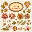 Vintage floral elements with birds. — Stock Vector