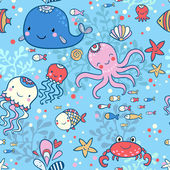 Cartoon marine seamless pattern — Stock vektor