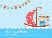 Greeting card with boy, ship and sea — Stock Vector