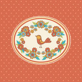 Kwiatowy ramki z ptakiem. — Wektor stockowy