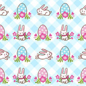 Seamless pattern with Easter bunnies and eggs. — Stock Vector