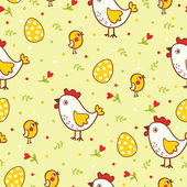 Happy Easter pattern with chicks and eggs — Stock Vector