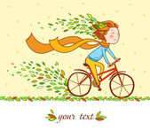 Girl on bike, autumn background — Stock Vector