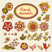 Vintage floral elements with birds. — Vector de stock