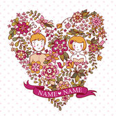 Wedding heart with flowers and birds. — Vector de stock