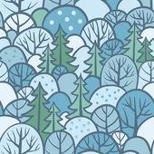 Sömlös träd mönster med skog — Stockvektor