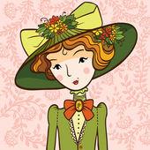 Retro girl in a Hat — Stock Vector
