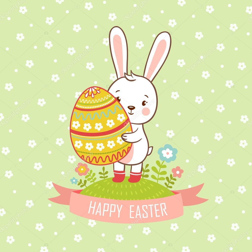 卡通鸡蛋复活节兔 — 图库矢量图像08
