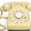 Stock Photo: Old cream telephone