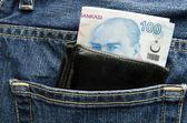 Wallet pocket with turkish lira — Stock Photo