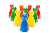 Multi Color Board Game Pieces in Formation — Stock Photo