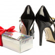 Stock Photo: Rose box and Black strappy shoes