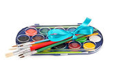 Set of paints and brushes — Stock Photo