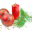 Christmas decorations  candle and fir twig — Stock Photo