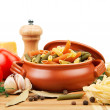 Stock Photo: Pastand spices in ceramic pot