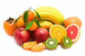 Fruit collection on white background — Stock Photo