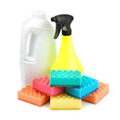 Spray bottle and a set of sponges — Stock Photo