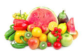 Watermelon and a variety of fruits and vegetables — Stock Photo