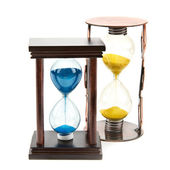 Hourglass, sandglass, sand clock on white background — Stock Photo