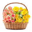 Flowers in basket isolate on white background — Stock Photo